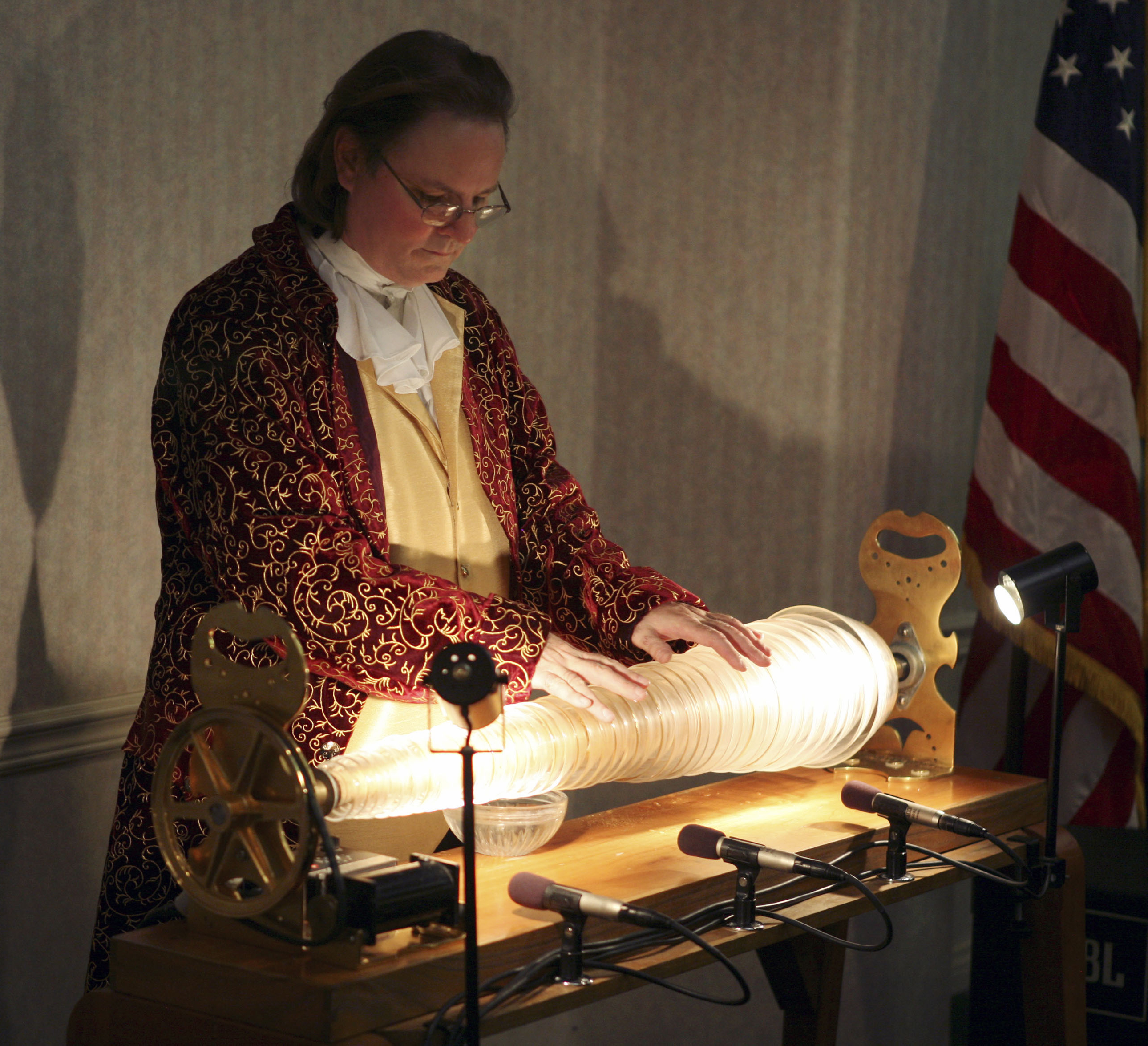 William zeitler playing the glass armonica viewed lengthwise
